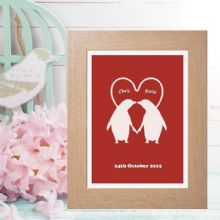 Personalised Penguin Couple Print - Unusual Wedding, Anniversary or Romantic Valentine's Gift